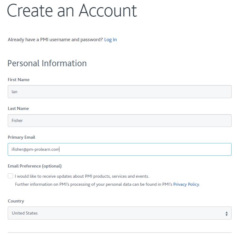 4- PMI - Create an Account