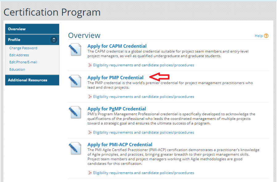 8- PMI - Apply for the PMP Credential